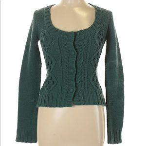 Stella Forest Lambs Wool Green Cardigan Sweater 7
